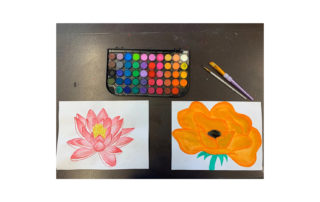 flower paintings, paint and brushes