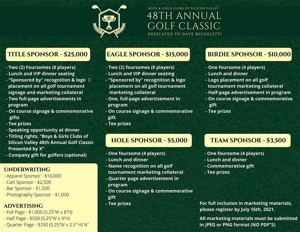 48th Annual Golf Classic Sponsor packages
